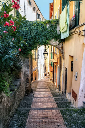 Narrow street made of stone with facades of aged buildings along it and lush greenery in Sanremo, Italy