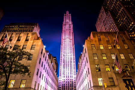 Rockefeller Center with illumination at night in New York, USA. Vibrant colors