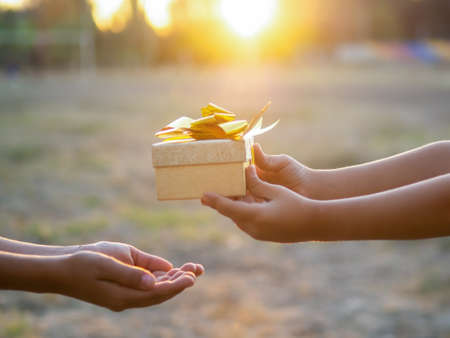 A kid is giving a boy a gift box with golden tape, setting sun. Holiday concept Imagens