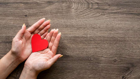 Woman is holding a red hearth. Woman hands. Wooden background. Top view