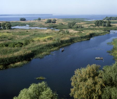 Mouth of the Vorskla river (tributary of the Dnipro). Poltava region, Ukraine