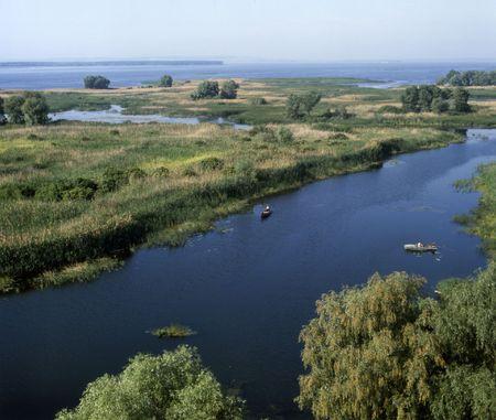 floodplain: Mouth of the Vorskla river (tributary of the Dnipro). Poltava region, Ukraine