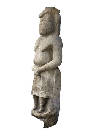Ancient stone sculpture of woman, Ukraine. Isolated on black
