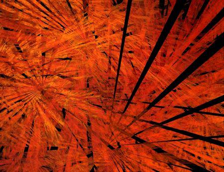 the big bang: Big Bang. Black rays in flame. Fractal