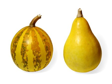 Two small pumpkins on white background Stock Photo