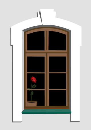 Window and scarlet rose in pot Illustration