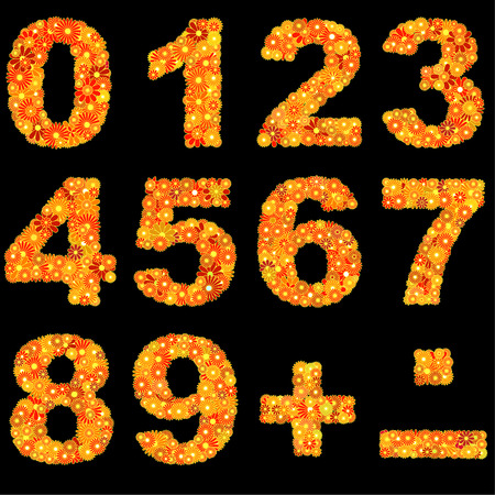 cypher: Digits made of red and yellow flowers