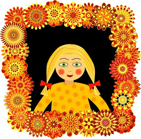 peering: Little girl looking of a flower window