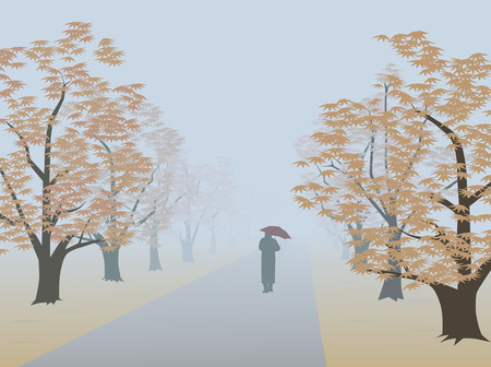Alley in fog. Infinite way