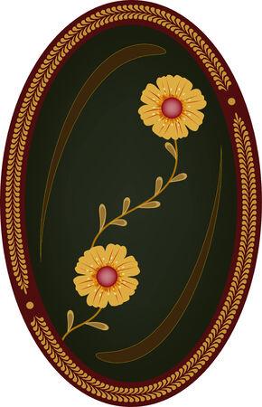 elliptic: Flowers in oval frame