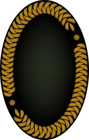 Oval frame of leaves on dark background