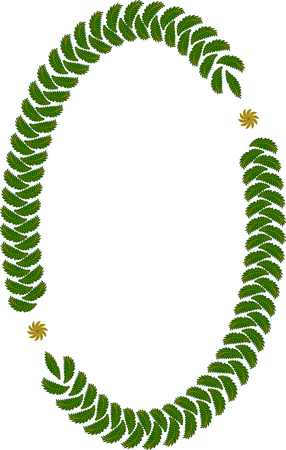 chaplet: Oval frame of leaves on white Illustration