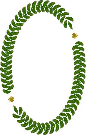 elliptic: Oval frame of leaves on white Illustration