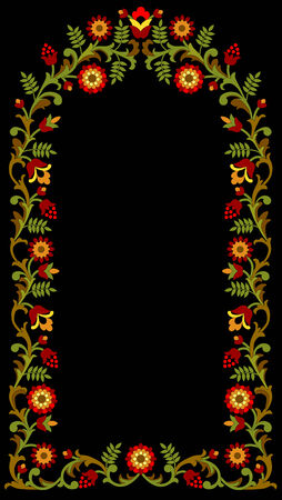 Floral frame on black background Illustration