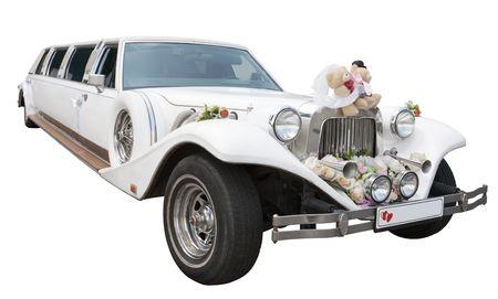 White wedding limousine isolated on white