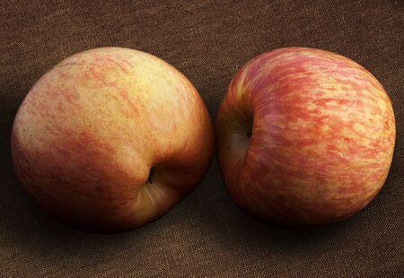 Two red apples on coarse brown fabric