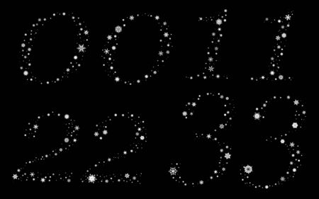 Digits 0 to 3 made of snowflakes, two variants Illustration