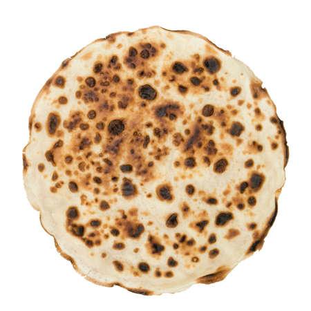 One round pancake isolated on white background Stock Photo