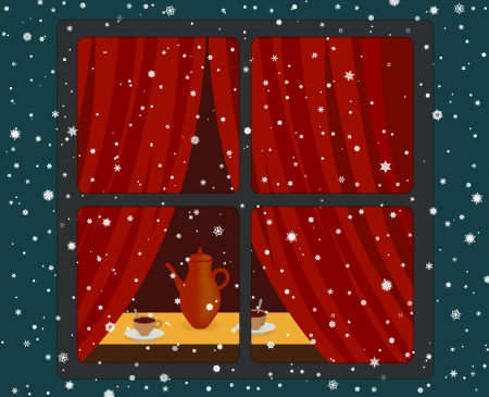 window curtains: Warm room and snowfall