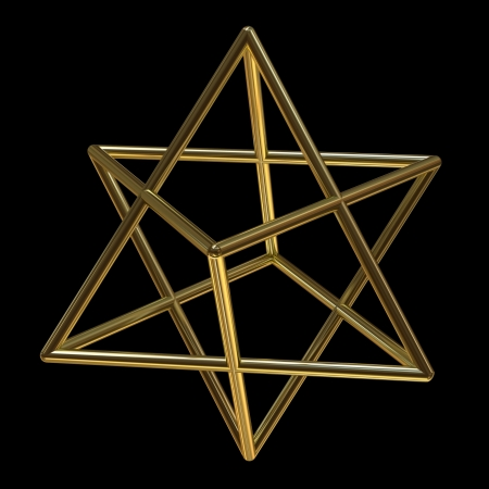 Merkaba symbol made of gold isolated on black Stock Photo