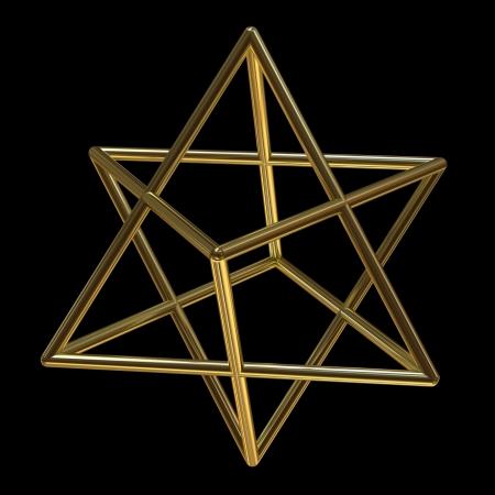 Merkaba symbol made of gold isolated on black Stock Photo
