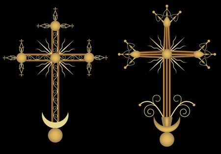 christian crosses: Two crosses Illustration