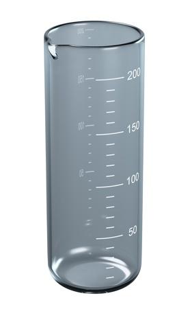 Graduated cylinder on white background. 3d illustration