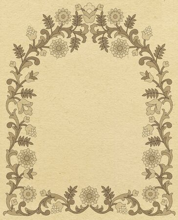 arched: Paper background with floral arched frame