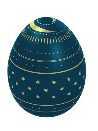Blue decrative egg isolated on white background. 3d illustration