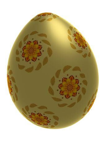 Decorative yellow egg with floral ornament isolated on white, 3d illustration illustration