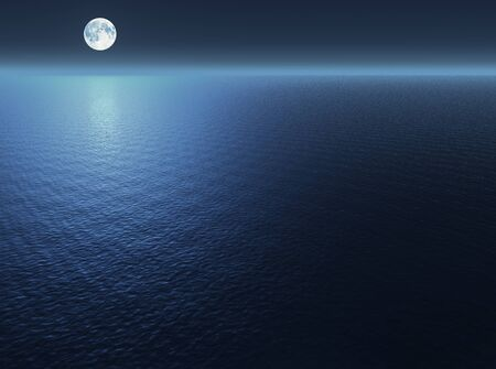 Moon over the sea. 3d illustration
