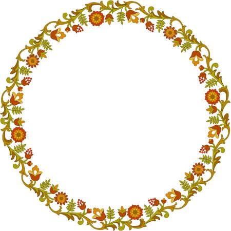 Round floral frame Illustration