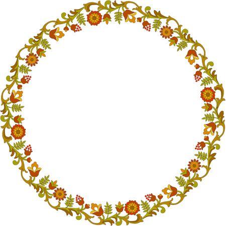 Round floral frame Illustration