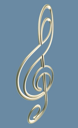 Isolated golden clef. 3d illustration
