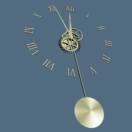 escapement: Pendulum clock isolated on bluish-grey background Stock Photo