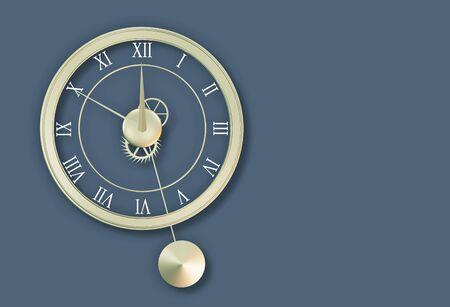 12 o'clock: Clock on bluish-grey wall