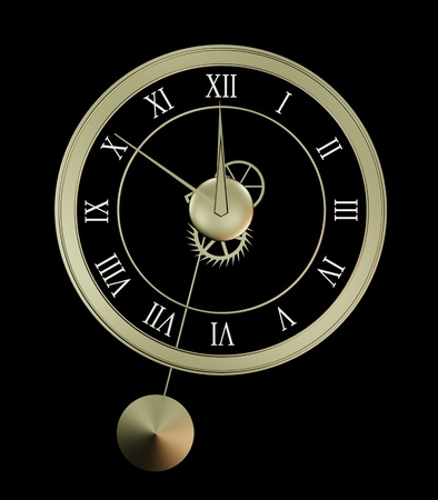 Clock isolated on black background. Illustration Stock Photo