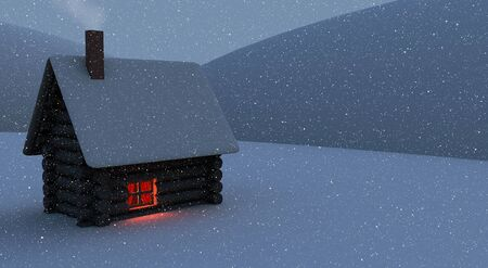 Small house with red light in a window in winter Stock Photo