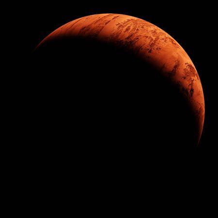 Crescent of red planet on black sly. 3d illustration