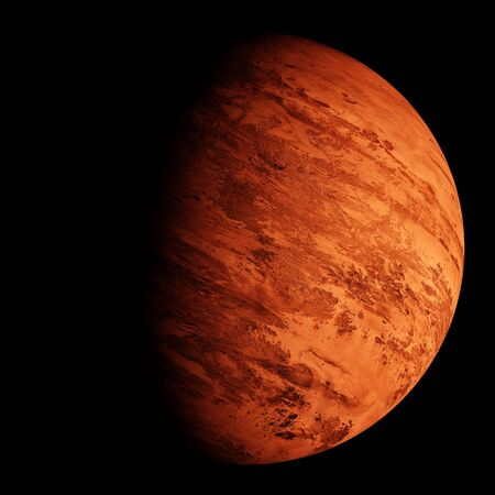 Red planet on black sky