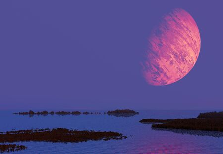 Seascape with rock islands and a big red planet in the sky Stock Photo