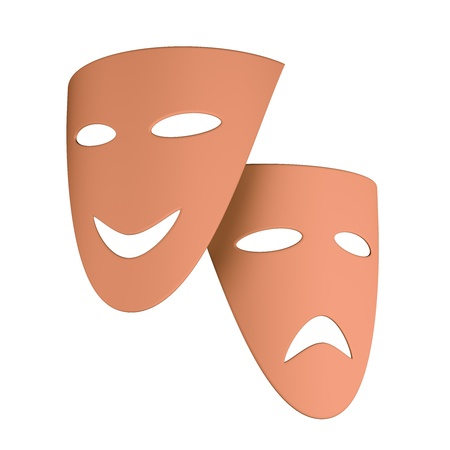 Tragic and comic masks isolated on black. 3d illustration