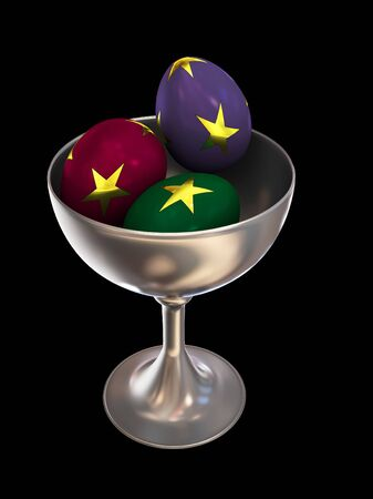 Ornate eggs in a bowl isolated on black