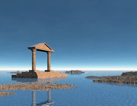 Sea with rocky islands and an ancient stone building. 3d illustration