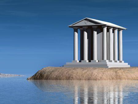 A temple on a small rocky island. Illustration