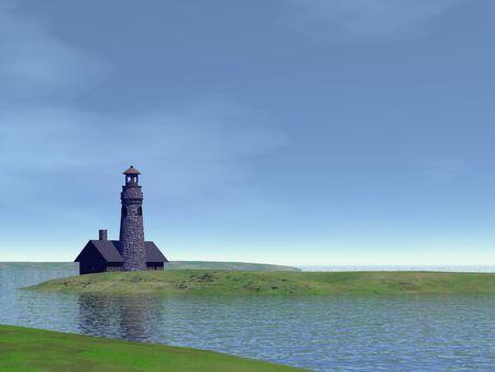 Old stone lighthouse  Illustration