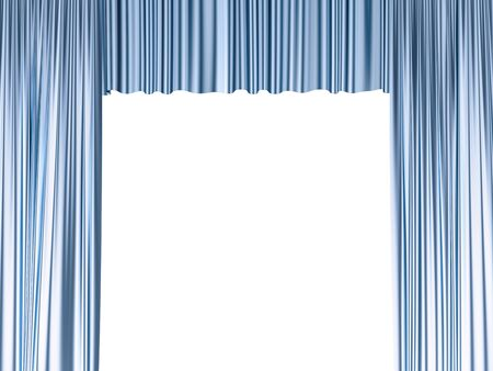 Blue curtains isolated on white, 3d illustration Stock Photo