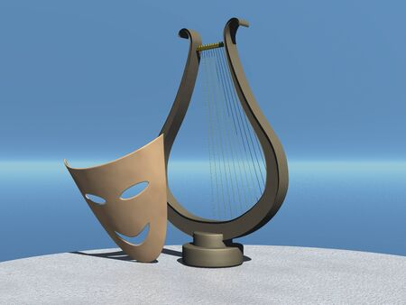 Theatrical comic mask and lyre. 3d illustration