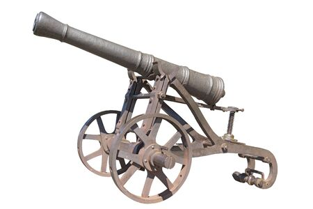 Old cannon isolated on white background Stock Photo
