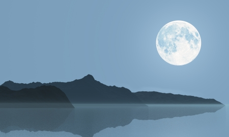 Full moon over the sea and hills  Illustration Stock Photo
